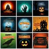 De veelvoudige Halloween-inzameling van de achtergrondafficheadvertentie Stock Afbeelding