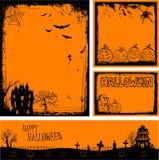 De veelvoudige oranje banners en de achtergronden van Halloween Stock Foto's