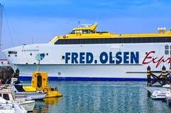 De Veerboot Uitdrukkelijke Bocayna, Fred Olsen Line, Playa Blanca Lanzarotte Royalty-vrije Stock Afbeelding