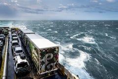 De veerboot van Nieuw Zeeland kruising tussen het noorden en zuideneiland royalty-vrije stock foto