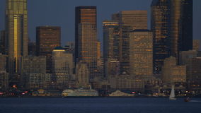 De Veerbootcityscape van Seattle stock video