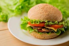 De vegetarische hamburger met verse salade op de plaat, sluit omhoog stock foto's