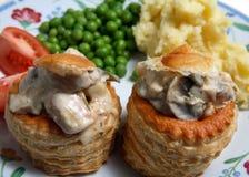 De vegetarische maaltijd van de vol-au-vent Stock Afbeeldingen
