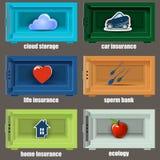 De veilige pictogrammen kunnen als verzekering worden gebruikt Royalty-vrije Stock Foto's