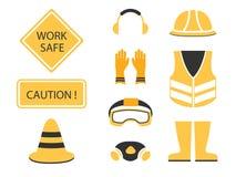 De veiligheid plaatste eerst en in aanbouw symbool Stock Foto