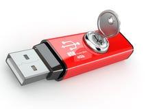 De veiligheid van gegevens. De flitsgeheugen en sleutel van Usb. 3d Stock Afbeelding