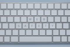 De veiligheid van het woordenweb op het computertoetsenbord met anderen sluit geschrapt stock afbeelding