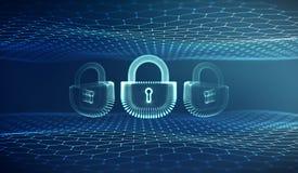 De veiligheidsachtergrond van Coputerinternet cyber De vectorillustratie van de Cybermisdaad digitaal slot stock illustratie