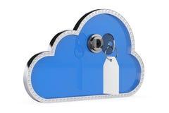 De veiligheidsconcept van Internet 3d Wolk met Sleutel en Slot Stock Afbeelding