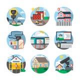 De veiligheidsdiensten kleuren gedetailleerde geplaatste pictogrammen Royalty-vrije Stock Fotografie