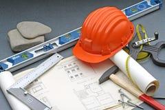 De veiligheidshulpmiddelen van de bouw Stock Afbeeldingen