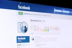 De veiligheidspagina van Facebook op het computerscherm. Stock Afbeelding