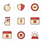 De Veiligheidspictogrammen van de pictogrammenstijl Stock Fotografie