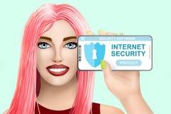 De veiligheidssoftware van concepteninternet Getrokken leuk meisje op gekleurde achtergrond Illustratie Stock Foto's