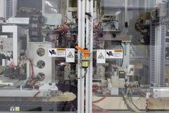 De veiligheidsstop op deur van machinemachines in het werktijd die wordt gebruikt royalty-vrije stock fotografie