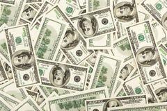 De vele V.S. 100 dollars, achtergrond Stock Foto's