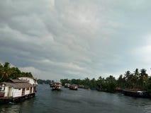 De Vembanad-meermening met huisboot royalty-vrije stock foto's