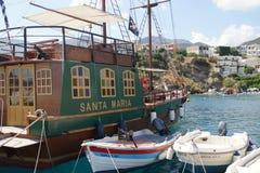 De Venetiaanse haven - Rethymnom - Crète stock afbeeldingen