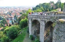 De Venetiaanse muur - oriëntatiepunt van Bergamo royalty-vrije stock afbeeldingen