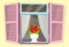 De vensterblinden bloeien Retro Zonneblinden vector illustratie