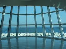De vensters bieden een unieke mening van Meer Michigan aan stock fotografie