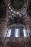 De vensters en de muurschilderijen van het Gelatiklooster stock afbeeldingen