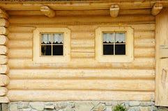 De vensters van het blokhuis Royalty-vrije Stock Afbeeldingen