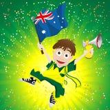 De Ventilator van de Sport van Australië met Vlag en Hoorn Stock Afbeeldingen