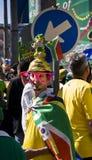 De Ventilator van het voetbal in Kostuum Getup Royalty-vrije Stock Afbeeldingen