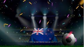 De ventilators houden de vlag van Nieuw Zeeland onder silhouet van menigtepubliek in voetbalstadion met confettien om voetbalspel royalty-vrije illustratie