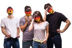 De ventilators van groeps mensen verdedigers van de nationale teams van Duitsland met de geschilderde droevige gefrustreerde emot stock afbeelding
