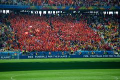 De ventilators van Holland bij de Wereldbeker van FIFA van 2014 Royalty-vrije Stock Afbeelding