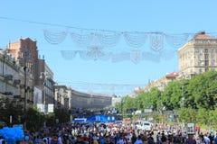 De ventilatorstreek is def. van de UEFA-Kampioenenliga Stad van Kiev ukraine royalty-vrije stock foto