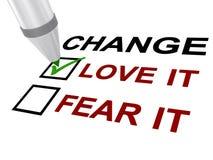 De verandering, houdt van het of vreest het stock illustratie