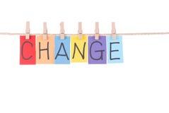 De verandering, Kleurrijke woorden hangt op kabel Stock Fotografie