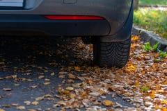 De verandering van de seizoenband Auto met nieuwe de winterbanden op de weg voor de herfstbladeren stock afbeeldingen