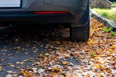 De verandering van de seizoenband Auto met nieuwe de winterbanden op de weg voor de herfstbladeren stock afbeelding