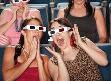 De verbaasde Vrouwen letten op 3d Film Royalty-vrije Stock Fotografie