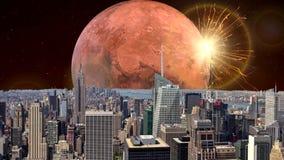 De verbazende animatie van de fantasiestad, de stadsanimatie van fantasienew york Apocalyps van New York stock videobeelden
