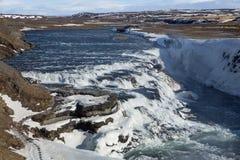 De verbazende Gullfoss-waterval in IJsland Stock Afbeelding