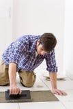 De verbetering van het huis - manusje van alles dat tegel legt Stock Foto's