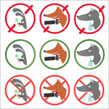 De verbiedende tekens en staan voor verschillende gelegenheden toe stock illustratie