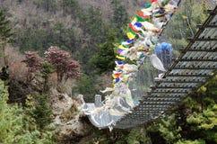 De verbindende banken van de tegenhangerbrug van rivier Dudh Kosi, Nepal Stock Afbeelding