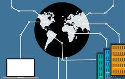 De verbinding tussen de wereld van computers en servers Royalty-vrije Stock Foto