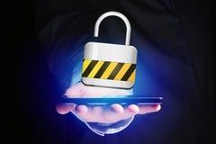 De verbinding van de hangslotveiligheid op een futuristische interface wordt getoond die Royalty-vrije Stock Foto's