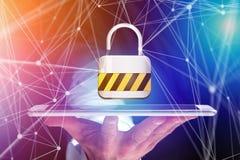 De verbinding van de hangslotveiligheid op een futuristische interface wordt getoond die Royalty-vrije Stock Foto