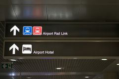 De verbinding van het luchthavenspoor en het teken van de de informatieraad van het luchthavenhotel Stock Afbeelding