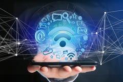 de verbinding van het wifisymbool door multimedia en Internet dat app wordt omringd Stock Foto's