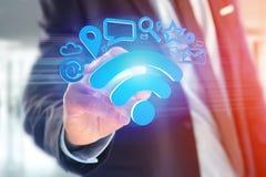 de verbinding van het wifisymbool door multimedia en Internet dat app wordt omringd Royalty-vrije Stock Afbeeldingen
