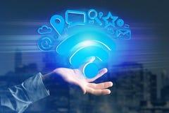 de verbinding van het wifisymbool door multimedia en Internet dat app wordt omringd Royalty-vrije Stock Fotografie